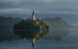 Bled island and castle (in the background) - Bled, Slovenia