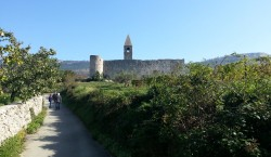Walking to Church of the Holy Trinity - Hrastovlje, Slovenia