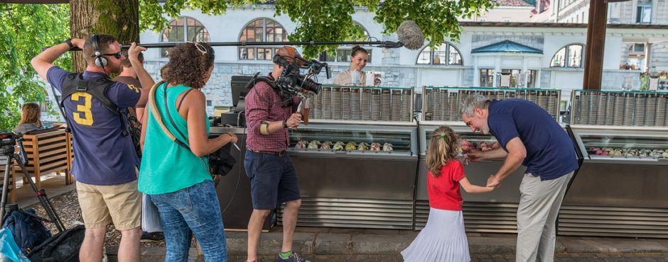 Buying gelato in Ljubljana
