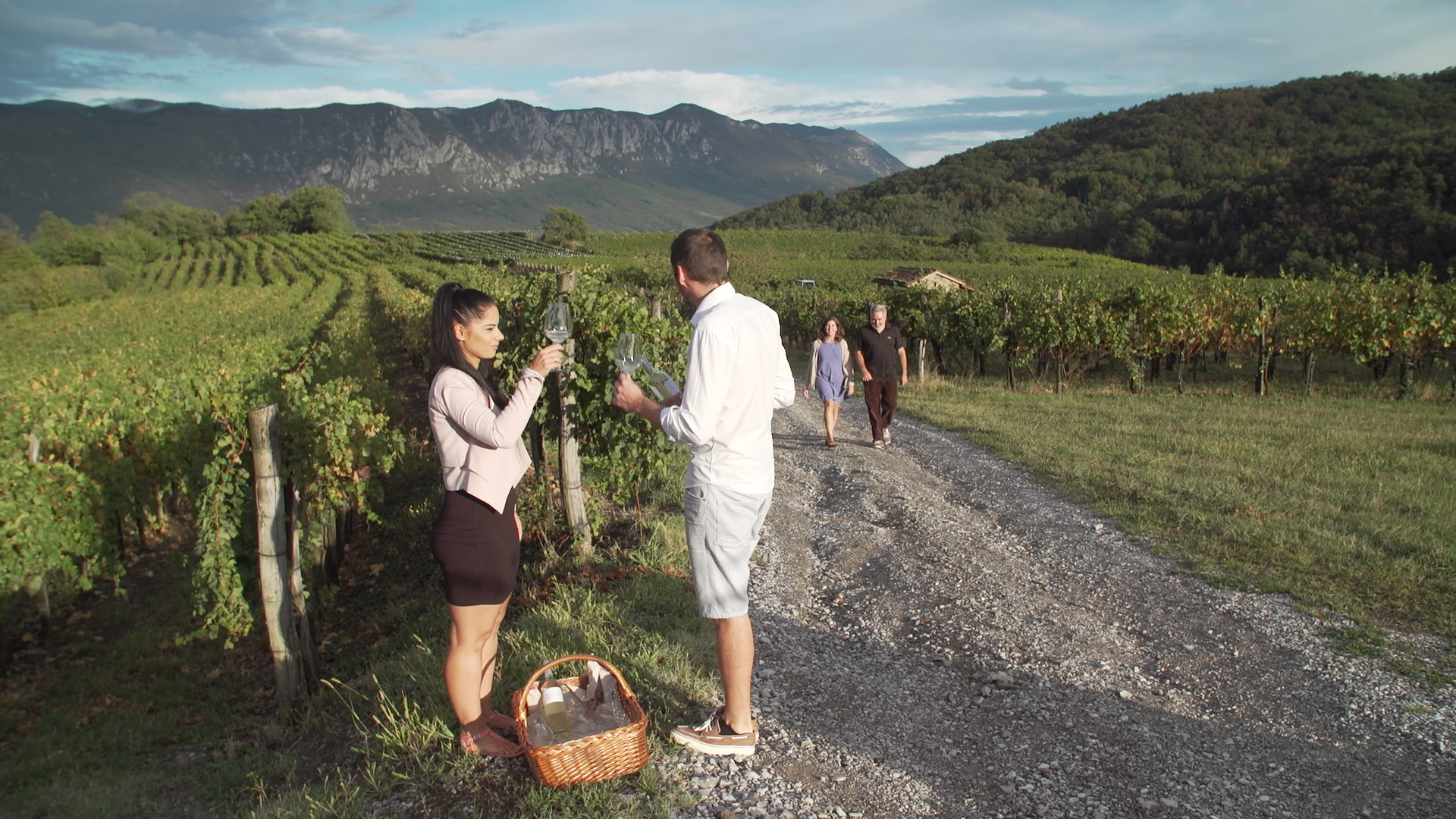 Preparing for a toast amongst the vineyards at Rondic Winery