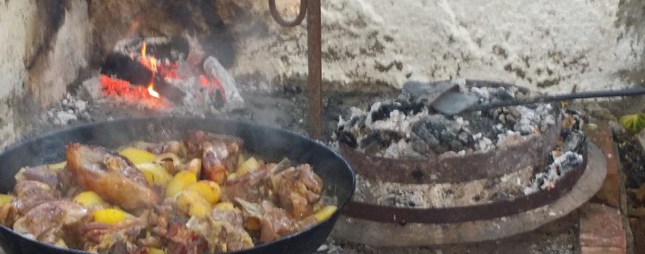 Cooking lamb and potatoes peka style