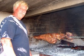 Roasted lamb on the Island of Vis, Croatia