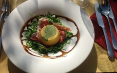 Pumpkin flan with prosciutto at Kabaj Morel in Slovenia