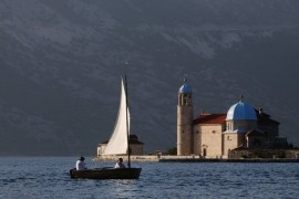 Sailing around Our Lady of the Rocks - Perast, Montenegro