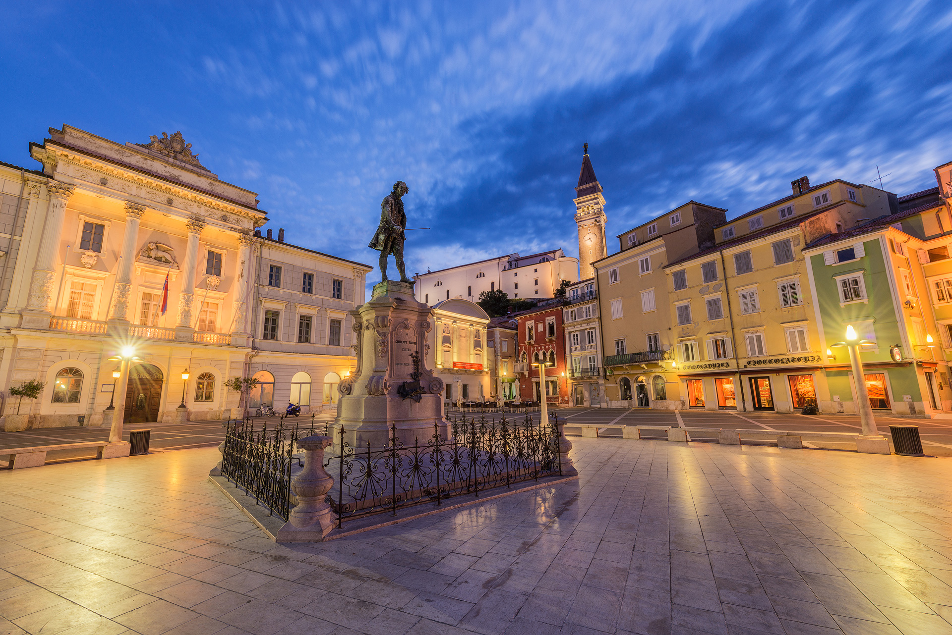 Tartini Square at night, Piran